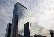 High rise modern glass office block buildings reflecting clouds, Rotterdam, Netherlands