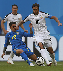 SAINT PETERSBURG, June 22, 2018  Fagner (L) of Brazil vies with Bryan Ruiz of Costa Rica during the 2018 FIFA World Cup Group E match between Brazil and Costa Rica in Saint Petersburg, Russia, June 22, 2018. (Credit Image: © Cao Can/Xinhua via ZUMA Wire)
