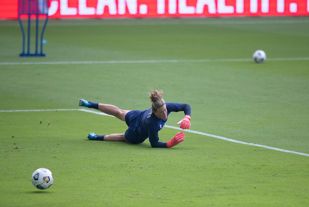 Members of the United States Women's National Team (USWNT) including goalkeeper ALYSSA NAEHR, warm up at the new Q2 soccer stadium in Austin during one of the final games on their road to the 2021 Tokyo  Olympics. The team will play a friendly with Nigeria on Wednesday evening.