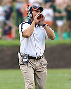 Sept. 3, 2011 - Charlottesville, Virginia - USA; Virginia Cavaliers Offensive Line/Tight Ends Coach Scott Wachenheim calls a play during an NCAA football game against William & Mary at Scott Stadium. Virginia won 40-3. (Credit Image: © Andrew Shurtleff