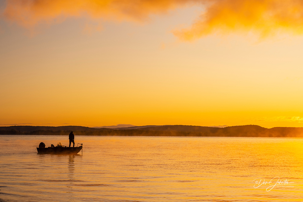 Launching a fishing boat on Lake Champlain, Grand Isle State Park, Vermont, USA