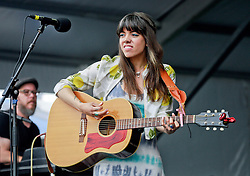 02 May 2014. New Orleans, Louisiana.<br /> Alynda Lee Segarra of Hurray for the Riff Raff at the New Orleans Jazz and Heritage Festival. <br /> Photo; Charlie Varley/varleypix.com