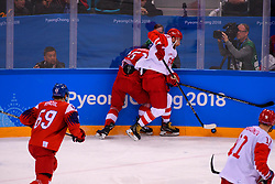 23.02.2018, Gangneung Hockey Centre, Gangneung, KOR, PyeongChang 2018, Eishockey Semifinale, Tschechien vs OAR, im Bild horak (roman), nesterov (nikita) // during the ice hockey semifinal match between Czech Republic vs OAR of the Pyeongchang 2018 Winter Olympic Games at the Gangneung Hockey Centre in Gangneung, South Korea on 2018/02/23. EXPA Pictures © 2018, PhotoCredit: EXPA/ Pressesports/ Jerome Prevost<br /> <br /> *****ATTENTION - for AUT, SLO, CRO, SRB, BIH, MAZ, POL only*****