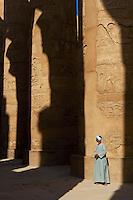Egypte, Haute Egypte, vallée du Nil, Louxor, Karnak, classé Patrimoine Mondial de l'UNESCO, temple dédié au Dieu Amon, gardien du temple // Egypt, Nile Valley, Luxor, Thebes, Karnak Temple, UNESCO World Heritage Site, temple guard