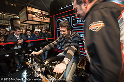 The Harley-Davidson Live Wire electric bike on display during EICMA, the largest international motorcycle exhibition in the world. Milan, Italy. November 20, 2015.  Photography ©2015 Michael Lichter.