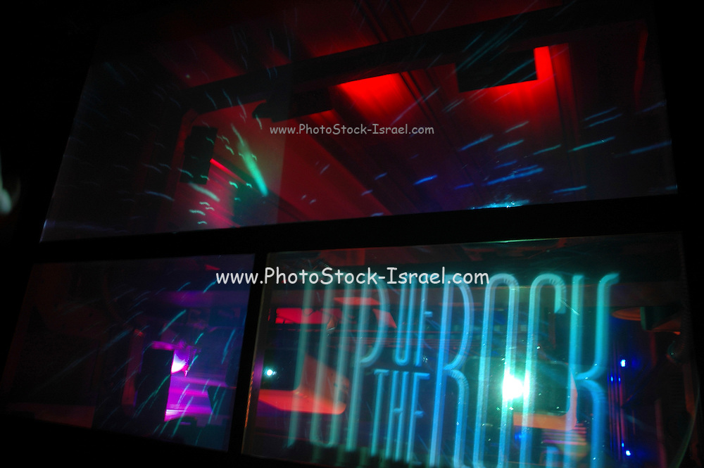 Light show in elevator to Top of the Rock. Rockefeller Center New York City NY USA