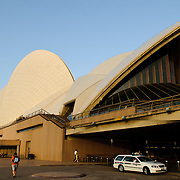The details of the sail design of Sydney's Opera House in the late afternoon golden sunlight.