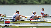Hamilton, NEW ZEALAND.   USA W2-, Bow, Zsuzsanna FRANCIA and Erin CAFARO, moves away from the start in their heat of the women's pairs. 2010 World Rowing Championship on Lake Karapiro Monday 01.11.2010. [Mandatory Credit Peter Spurrier:Intersport Images].