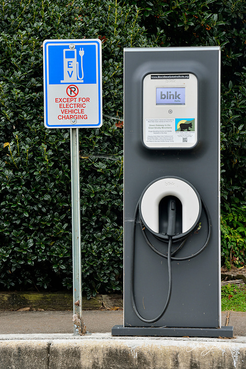 Electric car recharging spaces, Townsend, Tennessee, USA
