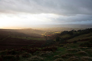Landscape view looking from Brown Clee Hill out over the Shropshire Hills, a designated Area of Outstanding Natural Beauty on 12th November 2019 near Burwarton, Shropshire, United Kingdom. The Shropshire Hills, located in the Welsh Marches, are relatively high: the highest point in the county, Brown Clee Hill, near Ludlow, has an altitude of 540 metres.