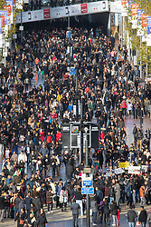 As a small group of Sikh  protesters demonstrate outside Wembley Stadium, thousands of the UK's Indian community stream into the stadium ahead of an address to more than 60,000 by Indian Prime Minister Narendra Modi at a 'UK Welcomes Modi' reception. With more than 9 billion worth of trade deals signed during his visit, the euphoria is tempered by the fact that just a few years ago he was a persona non grata in the UK. Modi, a Hindu and his BJP party are accused of a wide range of human rights abuses against religious and ethnic minorities in India  ©2015 Paul Davey. All rights reserved.   // Licensing: Please contact Paul Davey paul@pauldaveycreative.co.uk Tel +44 (0) 7966 016 296 or +44 (0) 208 969 6875.