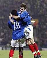 Fotball<br /> FA-cup England 2004<br /> 03.01.2004<br /> Foto: Digitalsport<br /> Norway Only<br /> <br /> Portsmouth v Blackpool 2-1<br /> AYEGBENI YAKUBU celebrates winning goal with Sebastien Schemmel