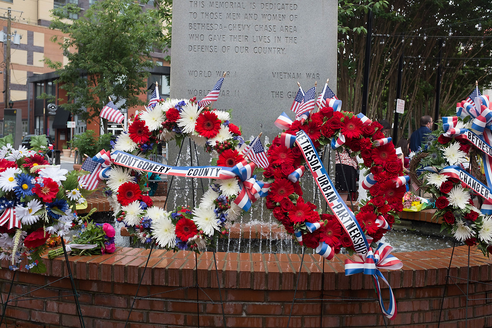Wreaths at the fountain in Veteran's Memorial Park, Bethesda, Maryland.