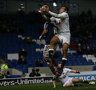 Joe Marchant (Harlequins) goes over for a try during the 2015 Under 20s 6 Nations match between England and France at the American Express Community Stadium, Brighton and Hove, England on 20 March 2015.