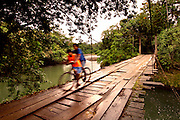 Children Ride Their Bike On An Old Wooden Bridge Crossing The Sarapiqui River In Costa Rica.
