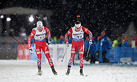 Skiskyting<br /> VM 2015<br /> Kontiolahti - Finland<br /> 05.03.2015<br /> Foto: Gepa/Digitalsport<br /> NORWAY ONLY<br /> <br /> Mix-stafett<br /> IBU World Championships, relay 2x6km ladies and 2x7.5km men, mixed team. Image shows Johannes Thingnes Bø and Tarjei Bø (NOR).