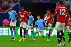Manchester City midfielder Phil Foden (80) and Manchester United midfielder Jesse Lingard (14) during play a the International Champions Cup match between Manchester United and Manchester City at NRG Stadium in Houston, Texas