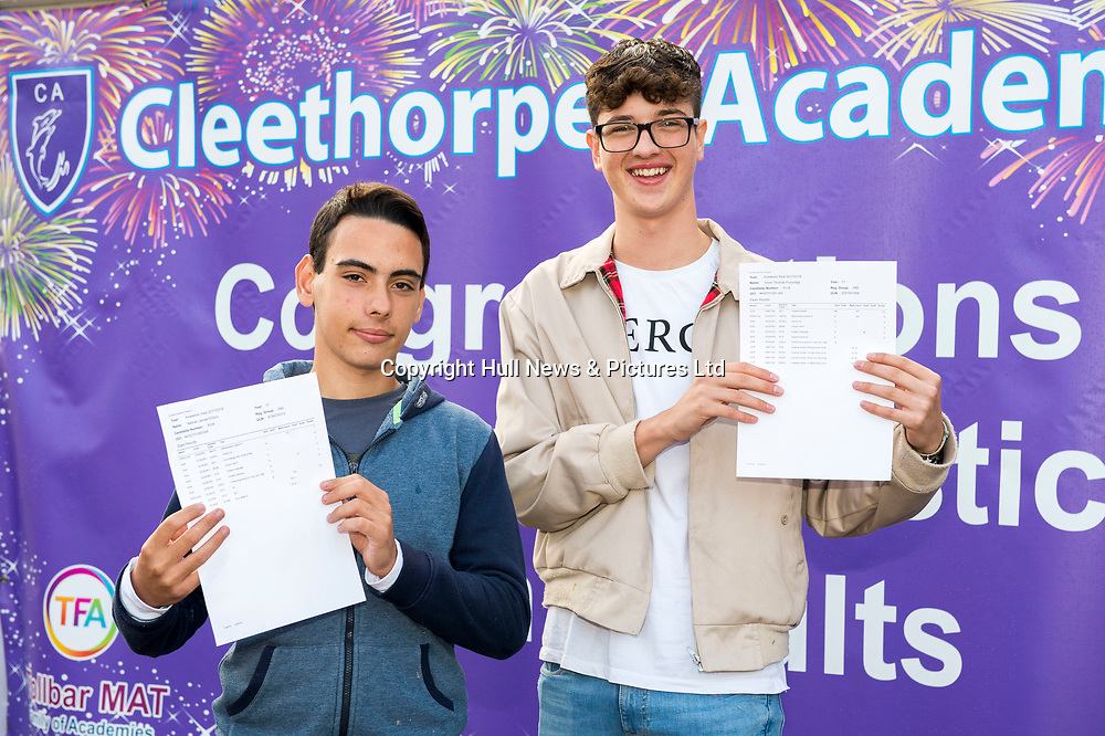 23 Aug 2018: Cleethorpes Academy GCSE results<br /> (L-r) Nathan Wilson and Oliver Plumridge.<br /> Picture: Sean Spencer/Hull News & Pictures Ltd<br /> 01482 210267/07976 433960<br /> www.hullnews.co.uk         sean@hullnews.co.uk