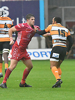 Rugby Union - 2019 / 2020 Guinness Pro14 - Scarlets vs. Cheetahs<br /> <br /> Dan Jones of Llanelli Scarlets  & Rhyno Smith of Cheetahs, have a wrestling match at Parc y Scarlets.<br /> <br /> COLORSPORT/WINSTON BYNORTH