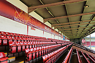 View of seating area with Uefa banners during the UEFA European Under 17 Championship 2018 match between England and Italy at the Banks's Stadium, Walsall, England on 7 May 2018. Picture by Mick Haynes.