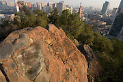 "Letter from Charles Darwin, hewn into the rock of Park Santa Lucia, Santiago, Chile. Darwin is supposed to have looked out at the city from here...Santa Lucía Hill (Spanish: Cerro Santa Lucía) is a small hill in central downtown Santiago, Chile. Beside it runs Alameda del Libertador Bernardo O'Higgins. Santa Lucia Hill has an altitude of 629 m and a height of 69 m. Benjamín Vicuña Mackenna decided to conduct a dramatic change to the urban atmosphere of the city of Santiago, among his many works aimed to improve the city, and thus initiated the construction of the garden....Clled Huelén by the pre-colonization inhabitants; in the Mapudungun language it apparently meanss ""pain, melancholy or sadness"" relating to the act of capturing the hill by Pedro de Valdivia on December 13, 1541."