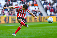 Luke O'Nien of Sunderland (13) crosses the ball during the EFL Sky Bet League 1 first leg Play Off match between Sunderland and Portsmouth at the Stadium Of Light, Sunderland, England on 11 May 2019.