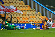 Sam Deering (7) of Dagenham & Redbridge shoots during the The FA Cup match between Mansfield Town and Dagenham and Redbridge at the One Call Stadium, Mansfield, England on 29 November 2020.