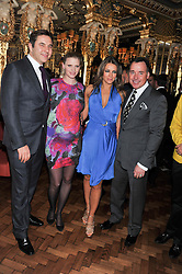 Left to right, DAVID WALLIAMS, LARA STONE, ELIZABETH HURLEY and DAVID FURNISH at the 50th birthday party for Patrick Cox held at the Café Royal Hotel, 68 Regent Street, London on 15th March 2013.