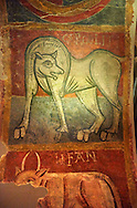 Mythical medieval animal. A 12th Century Romanesque fresco from the Church of Saint Joan Boi, al de Boi, Spain. National Art Museum of Catalonia, Barcelona. MNAC 15953 .<br /> <br /> Visit our SPAIN HISTORIC PLACES PHOTO COLLECTIONS for more photos to download or buy as wall art prints https://funkystock.photoshelter.com/gallery-collection/Pictures-Images-of-Spain-Spanish-Historical-Archaeology-Sites-Museum-Antiquities/C0000EUVhLC3Nbgw <br /> .<br /> Visit our MEDIEVAL PHOTO COLLECTIONS for more   photos  to download or buy as prints https://funkystock.photoshelter.com/gallery-collection/Medieval-Middle-Ages-Historic-Places-Arcaeological-Sites-Pictures-Images-of/C0000B5ZA54_WD0s