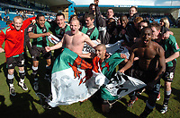 Photo: Tony Oudot/Richard Lane Photography. <br /> Gilingham Town v Swansea City. Coca-Cola League One. 12/04/2008. <br /> Swansea celebrate promotion to the Championship