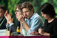 16 NOV 2019, BIELEFELD/GERMANY:<br /> Robert Habeck (L), B90/Gruene, Bundesvorsitzender, Annalena Baerbock (R), B90/Gruene, Bundesvorsitzende, Bundesdelegiertenkonferenz Buendnis 90 / Die Gruenen, Stadthalle<br /> IMAGE: 20191116-01-078<br /> KEYWORDS: Parteitag, Bundesparteitag, Party congress, BDK; Die Grünen