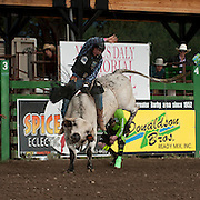 Zach Peterson attempts to ride Red Eye Rodeos Nutcracker at the 2016 Darby MT EPB  Josh Homer photo.  Photo credit must be given on all uses.
