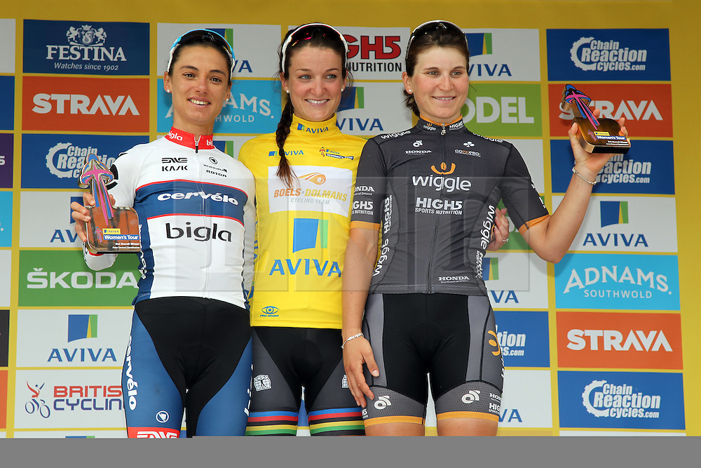 © Licenced to London 19/06/2016<br /> Kettering, Northamptonshire.UK. The yellow jersey winner Lizzy Armitstead, Ashleigh Moolma-Pasio and Elisa Longo Borghini after the final stage of the Aviva Women's Tour. Photo credit Steven Prouse/LNP