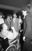 Bob Geldof Receives F.A.O.Medal..1986..16.10.1986..10.16.1986..16th October 1986..The highlight of Gorta's 21st anniversary World Food Day was the presentation of an F.A.O.(Food and Agriculture Organisation of the United Nations) to Bob Geldof. The medal was presented by An Taoiseach,Dr Garret Fitzgerald. The medal was in recognition of Bob's efforts and contribution towards famine relief in the Third World. The ceremony took place in The Berkeley Court Hotel in Dublin...Pictured meeting Bob on his arrival was Mrs Joan Fitzgerald the wife of An Taoiseach, Dr Garret Fitzgerald.
