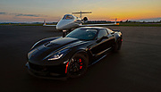 """Val """"Doc"""" Claussen with his Corvette Z06 and Lear 45, Tuesday, June 2, 2020, in Knoxville, Tennessee. (Wade Payne/www.wadepaynephoto.com)"""