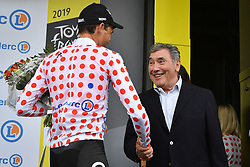 July 6, 2019 - Brussels, Belgium - Belgian Greg Van Avermaet of CCC Team wearing the red polka-dot jersey and former cyclist Eddy Merckx pictured on the podium after the first stage of the 106th edition of the Tour de France cycling race, 194,5km from and to Brussels, Belgium, Saturday 06 July 2019. This year's Tour de France starts in Brussels and takes place from July 6th to July 28th. (Credit Image: © David Stockman/Belga via ZUMA Press)