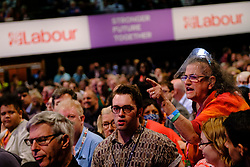 © Licensed to London News Pictures. 29/09/2021 Brighton, UK. Heckler Carole Vincent, from Big Brother shouts during Sir Keir Starmer, leader of the Labour Party speech at Labour Party Conference. Photo credit: Jess Hurd/LNP