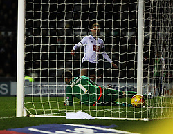 Andreas Weimann of Derby County (Top) scores his sides second goal - Mandatory byline: Jack Phillips / JMP - 07966386802 - 21/11/2015 - FOOTBALL - The iPro Stadium - Derby, Derbyshire - Derby County v Cardiff City - Sky Bet Championship