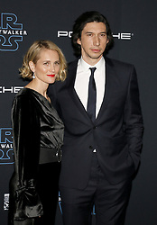 Joanne Tucker and Adam Driver at the World premiere of Disney's 'Star Wars: The Rise Of Skywalker' held at the Dolby Theatre in Hollywood, USA on December 16, 2019.