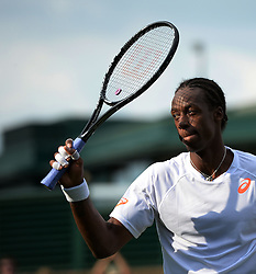 © Licensed to London News Pictures. 25/06/2014. LONDON, UK Wimbledon Tennis Championships 2014<br /> Day 3. Gael Monfils, France.  Photo credit : Mike King/LNP