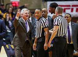 Feb 18, 2019; Morgantown, WV, USA; Kansas State Wildcats head coach Bruce Weber argues a call late in the first half against the West Virginia Mountaineers at WVU Coliseum. Mandatory Credit: Ben Queen-USA TODAY Sports