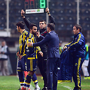 Fenerbahce's Volkan Sen (C) during their Turkish Super League soccer match Akhisar Belediye Genclik Spor between Fenerbahce at the 19 Mayis Stadium in Manisa Turkey on Sunday, 06 March 2016. Photo by TURKPIX