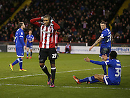 Leon Clarke of Sheffield Utd reacts after missing a chance to score during the English League One match at Bramall Lane Stadium, Sheffield. Picture date: December 26th, 2016. Pic Simon Bellis/Sportimage