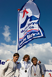 Medemblik - the Netherlands, May 31th 2009. Delta Lloyd Regatta in Medemblik (27/31 May 2009). Day 5, Medal races. Neil Pryde RS:X m podium with a gold medal for Dorian van Rijsselberge.