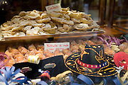 Carnival pastries in the window of a bakery shop (pasticceria) in Verona, Italy