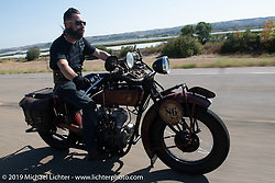 Shane Masters riding his 1925 Indian Chief in the Motorcycle Cannonball coast to coast vintage run. Stage 8 (314 miles) from Spirit Lake, IA to Pierre, SD. Saturday September 15, 2018. Photography ©2018 Michael Lichter.