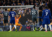 Football - 2018 / 2019 Premier League - Chelsea vs. Leicester City<br /> <br /> Eden Hazard (Chelsea FC) hidden blast his shot over Kasper Schmeichel (Leicester City) at Stamford Bridge <br /> <br /> COLORSPORT/DANIEL BEARHAM