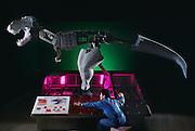 Dinosaur researcher programs an robotic T-rex at Kokoro in Tokyo, Japan