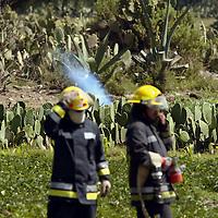 Otumba, Mex.- Bomberos se mantienen alerta mientras tecnicos de Petroleos Mexicanos (PEMEX), trabajan en la reparación de los ductos que esta mañana presentaron una fuga de combustible por la fisura en un tubo de 18 pulgadas, esta situación generó la movilización de personal de Protección Civil y la evacuación de los habitantes ante la posibilidad de una explosión. Agencia MVT / Diego Flores. (DIGITAL)<br /> <br /> <br /> <br /> <br /> <br /> <br /> <br /> <br /> <br /> <br /> <br /> <br /> <br /> <br /> <br /> NO ARCHIVAR - NO ARCHIVE