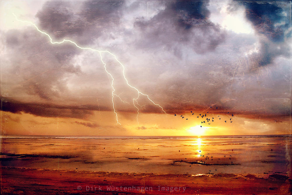 Dramatic seascape  - storm clouds over the Indic  with lightning<br /> Metal print: https://displate.com/displate/135778